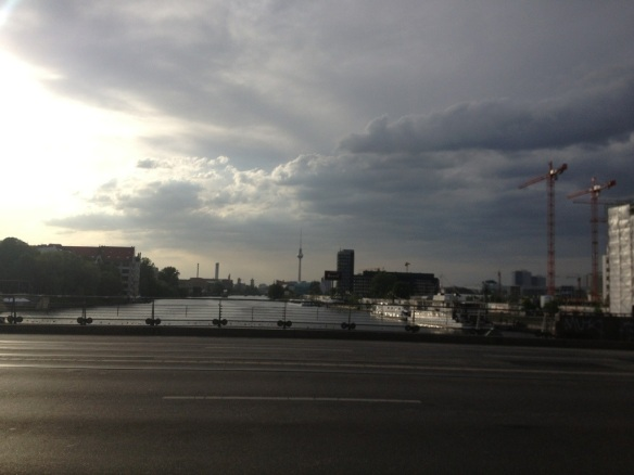 The view of Berlin from the Oberbaumbrücke.