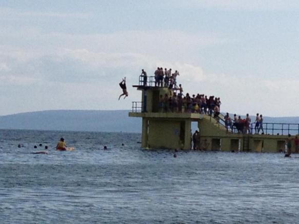 Boyfriend backflipping into Galway Bay
